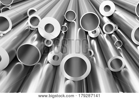Many Different Steel Pipes Background