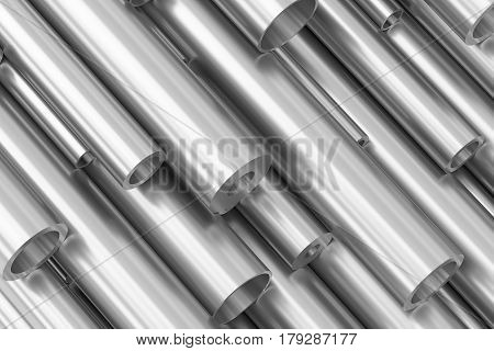 Many Different Various Sized Steel Pipes.