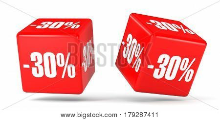 Thirty Percent Off. Discount 30 %. Red Cubes.
