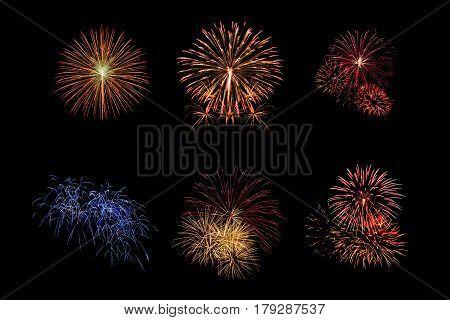 Color Fireworks Set Light Up On Sky With Dazzling Display On Black Background. Event And Celebration