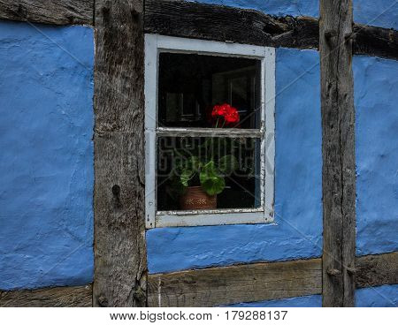 The Flowers In Window Of An Old Farmhouse