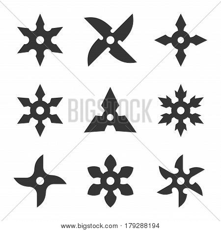 Ninja Star Icon Set on White Background. Vector