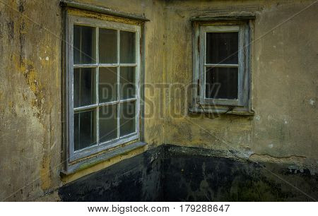 The Old And Dilapidated Window Of A  House