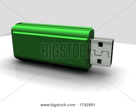 A render 3d of green usb pen drive poster