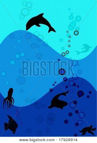 Underwater background - Fully editable vector image