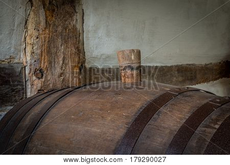 The Wine Barrel In A Dark Cellar