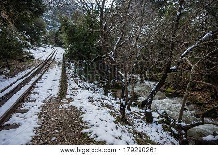 Touristic cog railway in Vouraikos gorge, Peloponnese, Greece
