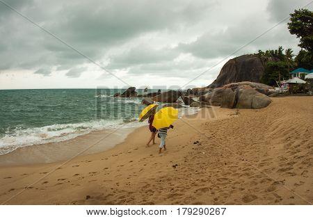 Yellow Umbrellas On Lamai Beach, Samui, Thailand