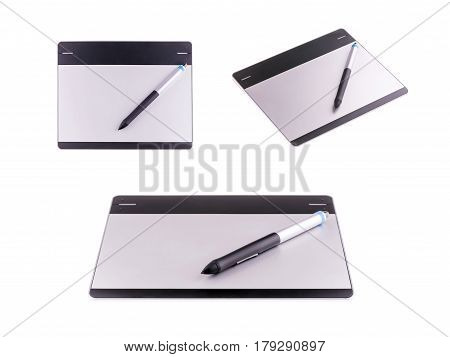 Graphic tablets with stylus pen isolated on white background. Object for illustrators, photographer and designers concept