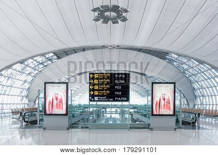 BANGKOK - DEC18: Suvarnabhumi International Airport on December 18 2015 in Bangkok Thailand. The airport handles 45 million passengers annually