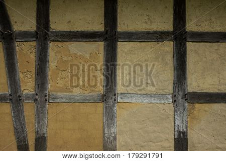 Old Adobe Wall Of The Half Timbered House