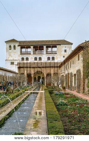 Patio de la Acequia (Court of the Water Channel) in Generalife gardens Granada Spain