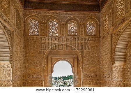 Interior of Generalife palace Alhambra Granada Spain