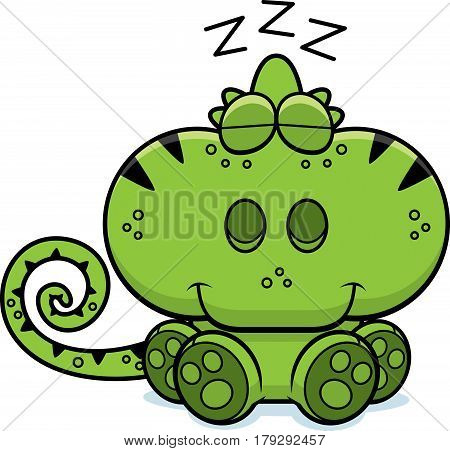 Cartoon Chameleon Napping