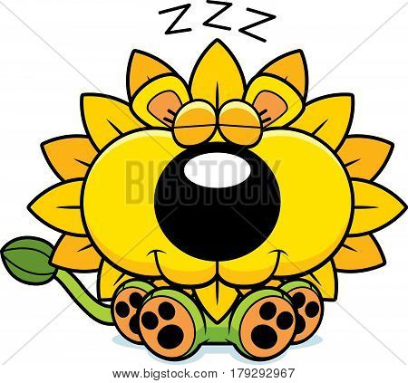 Cartoon Dandelion Lion Napping