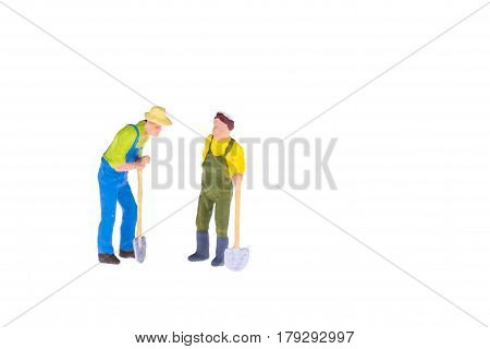 Close Up Of Miniature Gardener People Isolate On White Background. Elegant Design With Copy Space Fo