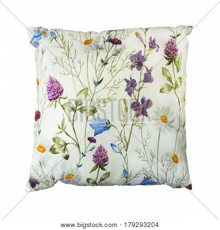 Decorative throw pillow with flower isolated on white background