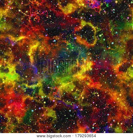Abstract bright colorful universe, Nebula night starry sky, Multicolor shiny outer space, Glittering galactic texture background, Seamless illustration