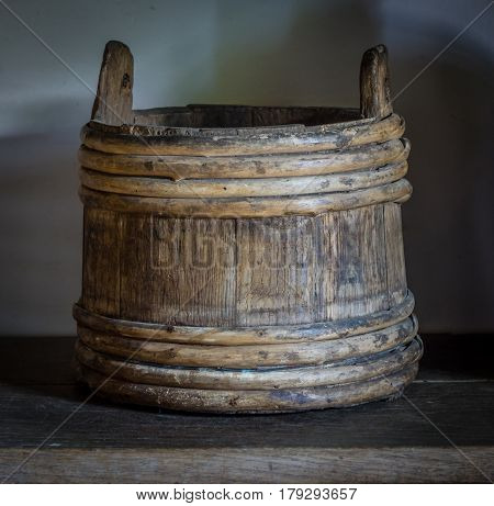 The Old  Wooden Bucket In A Farmhouse