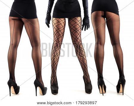 Sexy female legs in beautiful stylish stockings and high heels shoes black gloves and dress isolated on white background collage of three models