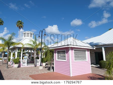 The morning view of a marketplace in Freeport town on Grand Bahama Island.