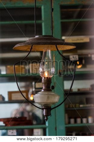 The Old Kerosene Lamp Hanging In The Shop