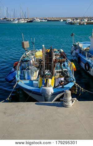 Fishing boat moored at the fishing village of Zygi in Cyprus.