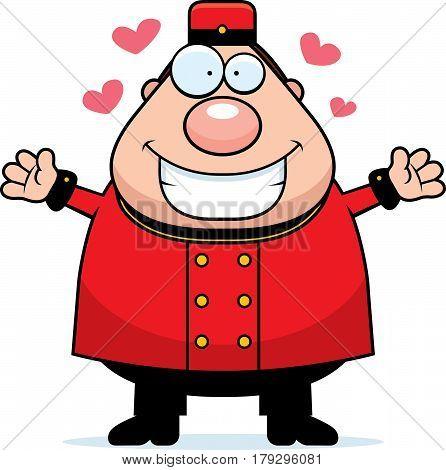 Cartoon Bellhop Hug