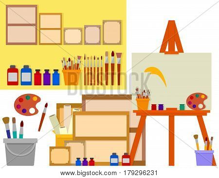 art studio on flat design with artist tools - easel, palette, paints and other tools set