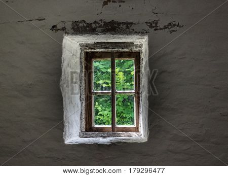 The Wall And Window Of An Old Farmhouse Inside