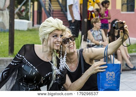 CAGLIARI, ITALY - August 9, 2015: Lost in Cosplay at the former glassworks Pirri - selfies in cosplay style - Sardinia