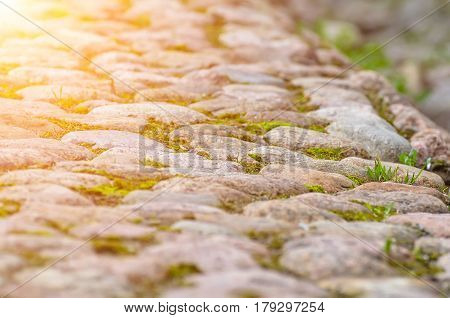 Road from stones paving stone and grass.