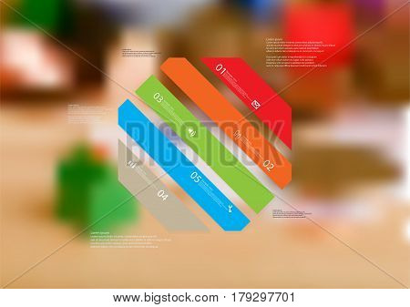 Illustration infographic template with motif of octagon askew divided to five standalone color sections. Blurred photo with financial motif with coins and money is used as background.