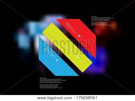 Illustration infographic template with motif of octagon askew divided to three standalone color sections. Blurred photo with colorful game dices motif on black board is used as background.