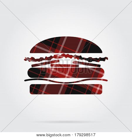 red black isolated tartan icon with white stripes - hamburger and shadow in front of a gray background
