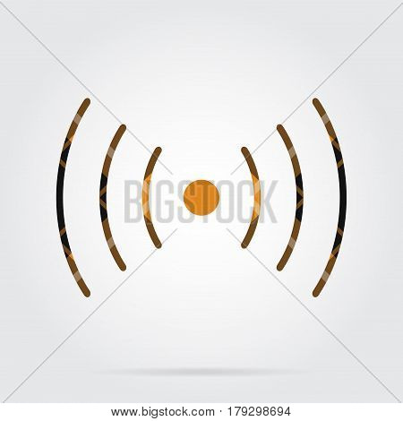 orange black isolated tartan icon with white stripes - sound or vibration symbol and shadow in front of a gray background