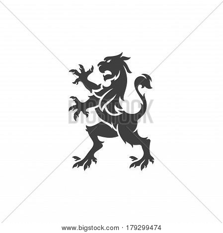 Heraldic lion Isolated on white background vector icon in retro style. Can be used for crest logo or heraldic badge.