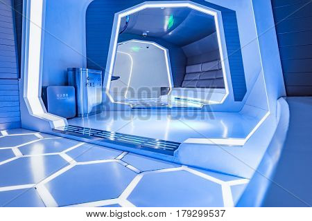Shanghai China - December 30 2016: Interior of the space capsule inside of the Oriental Pearl tower.