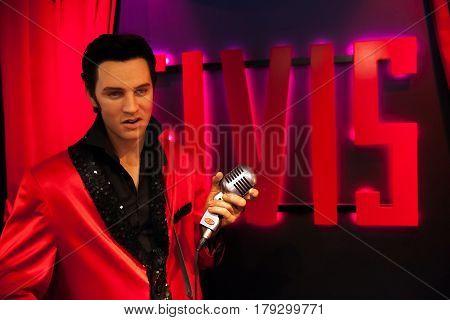 Amsterdam, Netherlands - March, 2017: Wax figure of Elvis Presley singer in Madame Tussauds Wax museum in Amsterdam, Netherlands