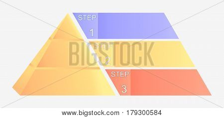 Pyramid chart with four elements with numbers and text, pyramid infographic template .