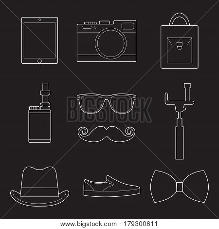 Set of simple hipster accessory line art icons on black background vector illustration