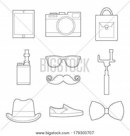 Set of simple hipster ac essory line art icons on white background vector illustration
