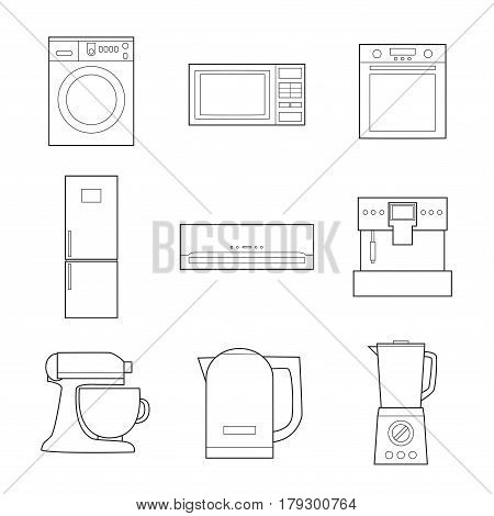 Set of simple appliances lineart icons on white background vector illustration