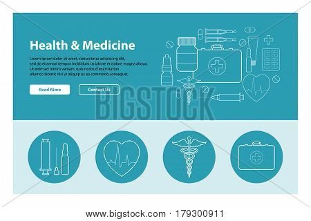 Line art design of web header template with flat icons of medicine. Modern vector illustration concept for websites. Infographics vector illustration