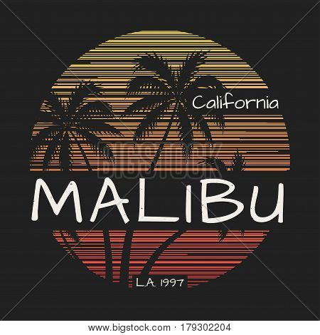 Malibu california tee print with palm trees. Vector illustration.