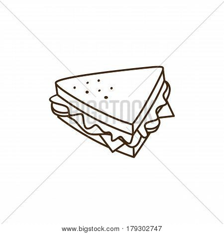 Delicious Yummy Sandwich For Breakfast Cartoon Theme Vector