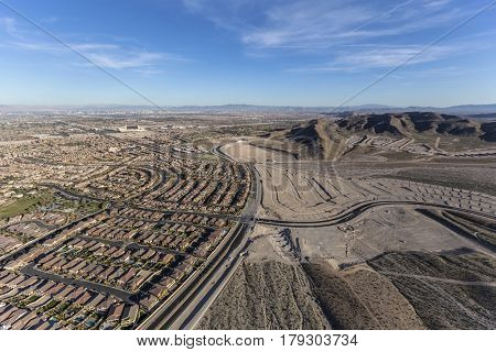 Aerial view of the western edge of Summerlin near Red Rock National Conservation Area in Las Vegas, Nevada.