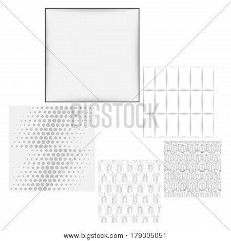 Grey white seamless background set vector illustration