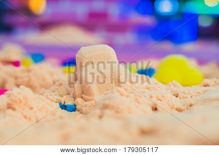 Figures From The Pink Kinetic Sand The Development Of Fine Motor Concept. Creativity Game Concept