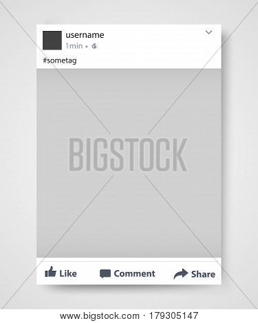 Popular social network post frame. Vector illustration
